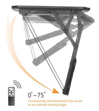 Remote Control Motorized Flip Down Ceiling Mount 23 Quot 55 Quot Retrotouch Designer Light